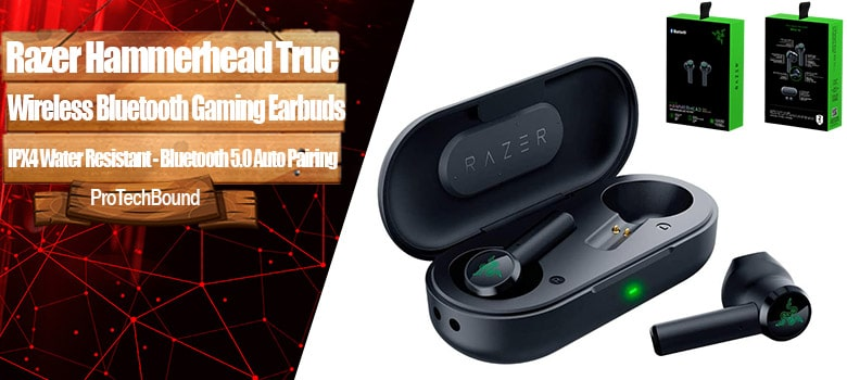 Razer Hammerhead True Wireless Bluetooth Gaming Earbuds - 60ms Low-Latency - IPX4 Water Resistant - Bluetooth 5.0 Auto Pairing - Touch Enabled