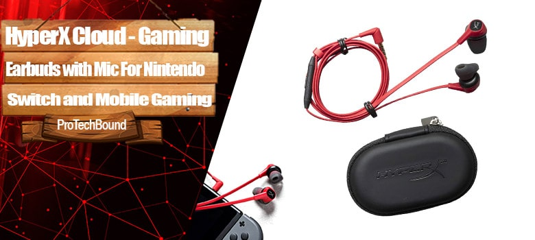 HyperX Cloud Earbuds - Gaming Headpsests with Microphone for Nintendo Switch and Mobile Gaming